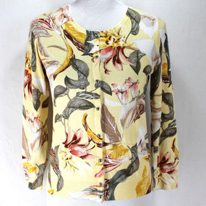 White House Black Market Cardigan Sweater Floral M
